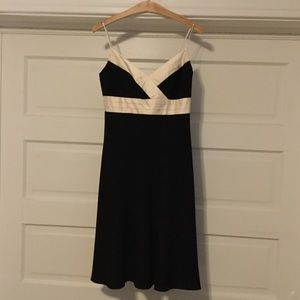 Ann Taylor Black and Cream Satin Cocktail Dress